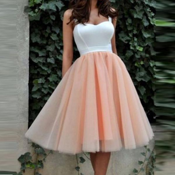 Elegant Off the Shoulder White Satin Pale Pink Tulle Short ...