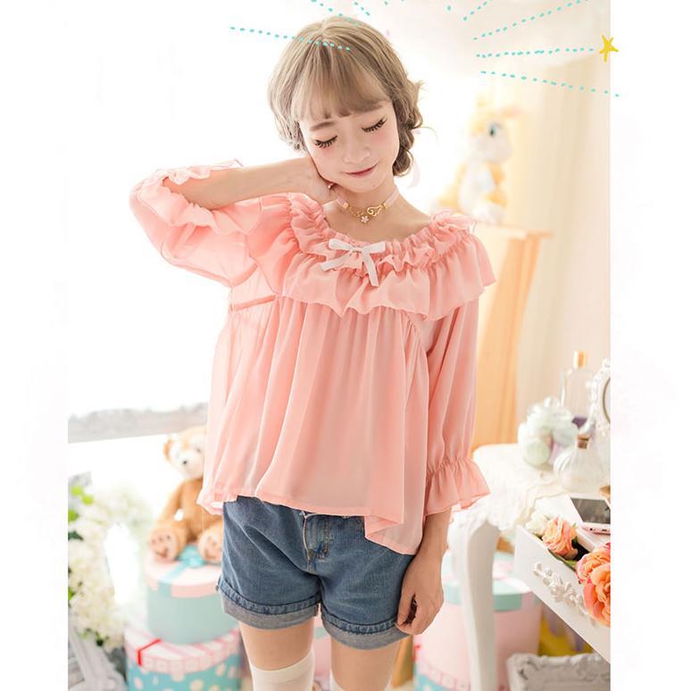 Lolita Doll Collar Ruffles Long Shirt Pink Chiffon Blouse ...