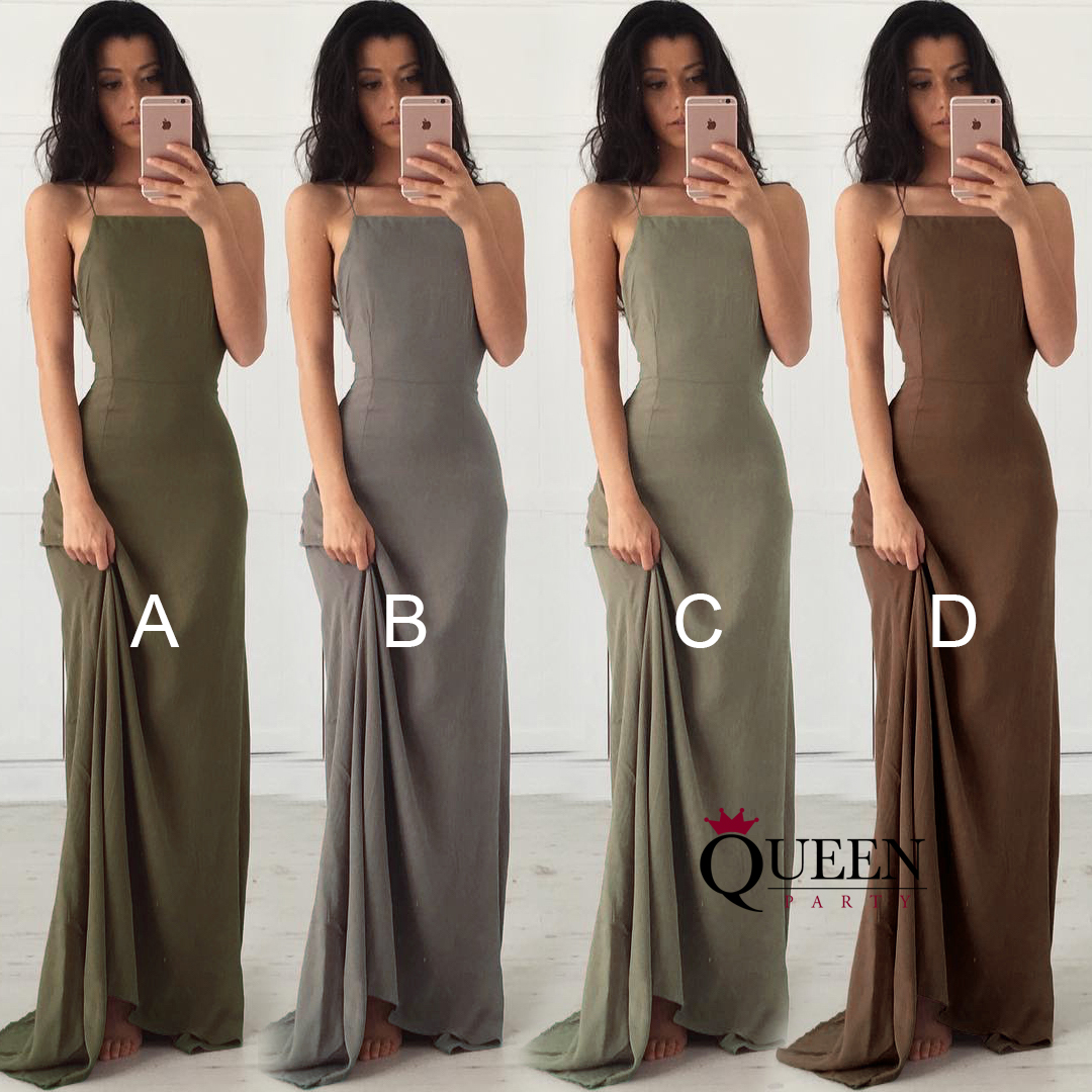 Spaghetti Strap Lace Up Open Back Silk Linen Long Prom Dress With ...