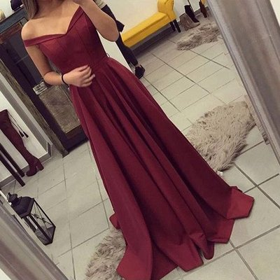 Elegant Burgundy Satin Prom Dressesoff The Shoulder Evening Gowns Long Dresscheap