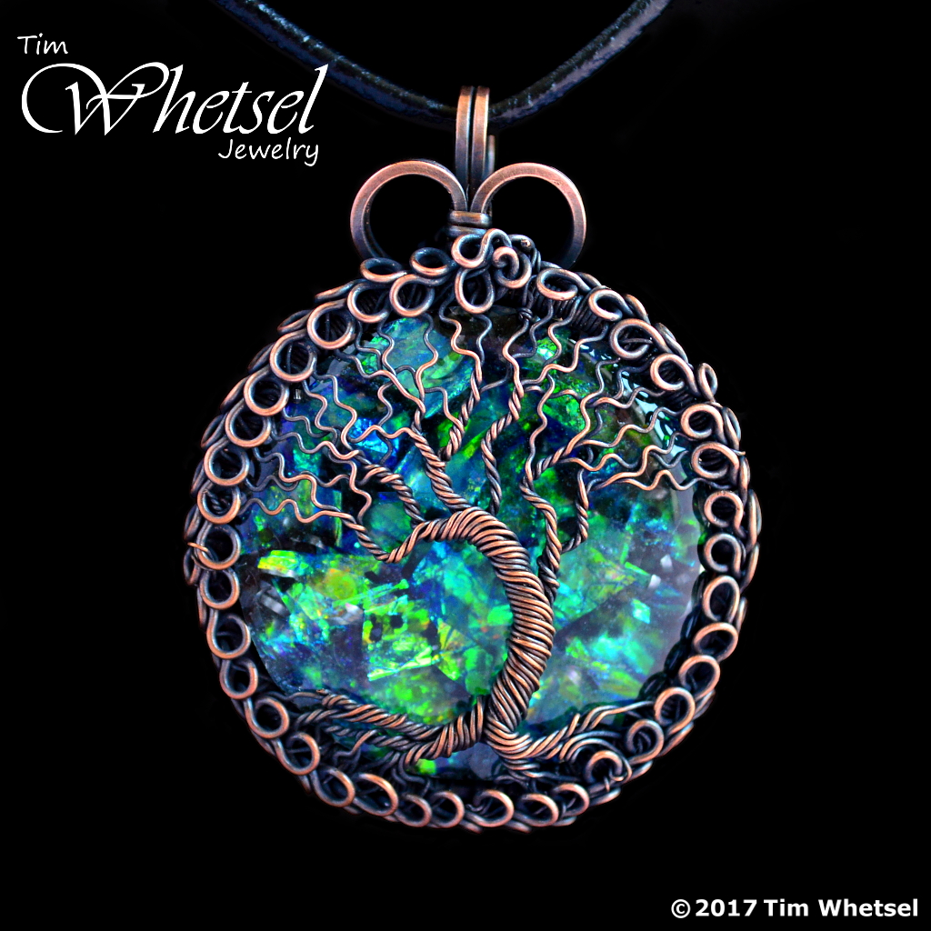 Opalescent Orgonite - Copper Tree of Life Pendant - Loops Frame ...