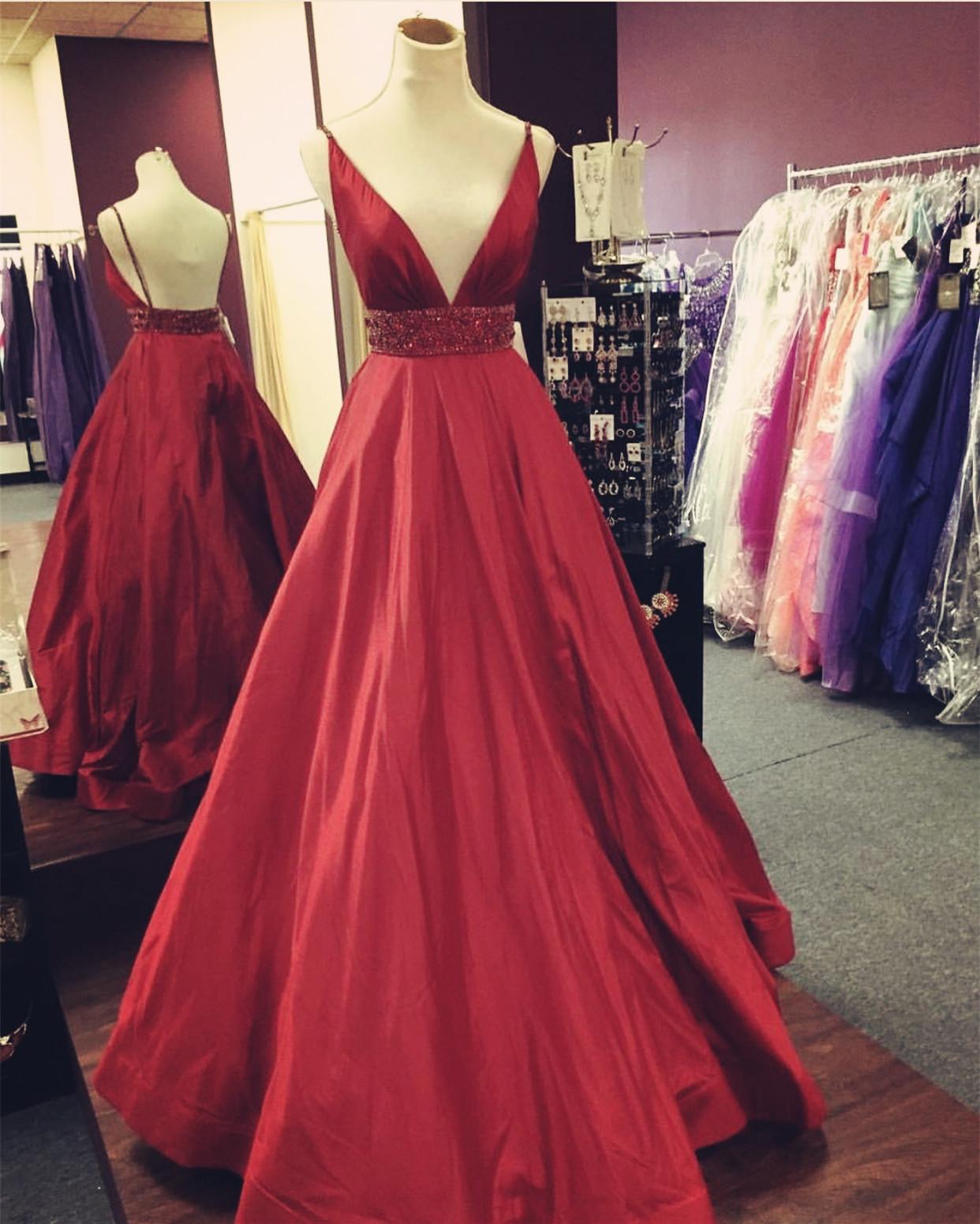 Backless Prom Dress,Deep V Neck Red Evening Dress,Long Prom Dresses ...