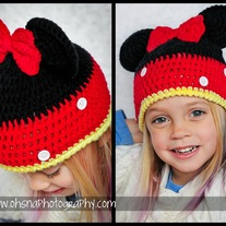 Handmade Crochet Childrens Minnie Mouse Hat