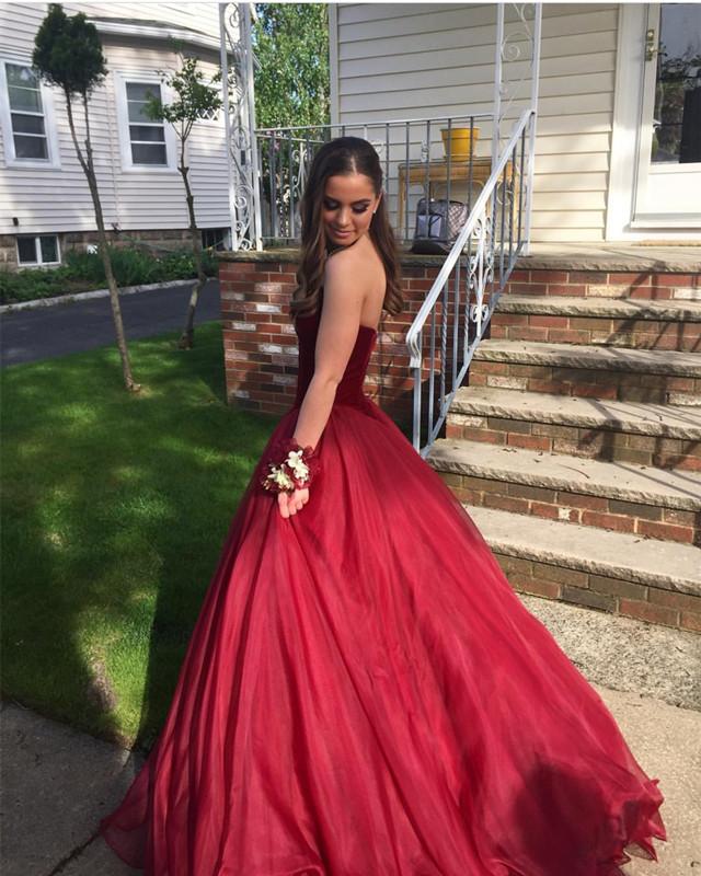 burgundy prom dress,ball gowns prom dress,long evening dresses, v ...