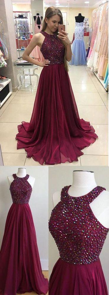 Burgundy Prom Dresses Chiffon Prom Dress Long Prom Dress
