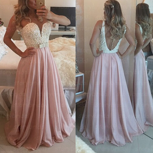 Elegant Handmade Pink Prom Dress Pearls Evening Gowns Chiffon Floor Length