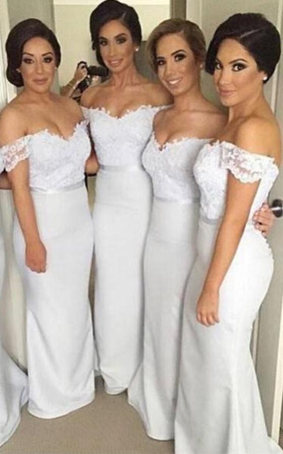Pretty Off Shoulder Long White Bridesmaid Dresses,Lace Bridesmaids ...