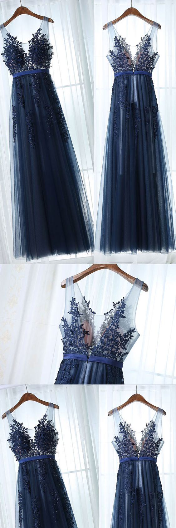 Dark blue tulle lace long prom dress, dark blue bridesmaid dress ,09 ...