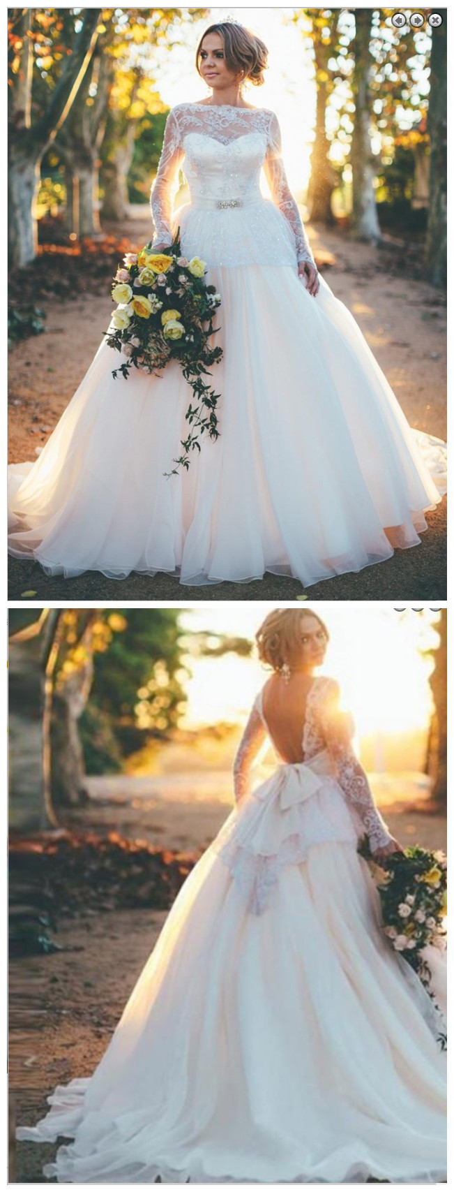 Stunning Backless Long Sleeves Ball Gown Organza Wedding Dress with ...
