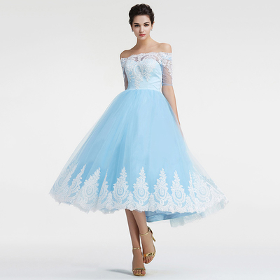 Blue Prom Dresses, Ball Gown Tea-length Party Dresses, Off-the ...