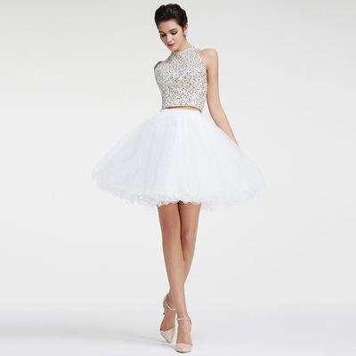 Two Piece Prom Dresses, Princess Halter Short Homecoming Dresses ...