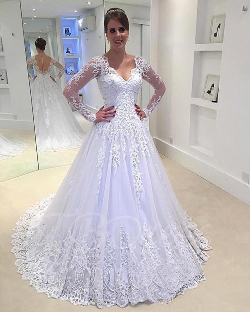 Gauze Back Long Sleeves V-Neck A-Line Wedding Dress bridal dresses ...