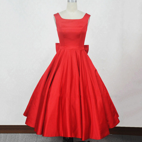 Red Prom Dresses Ball Gown Square Neckline Short