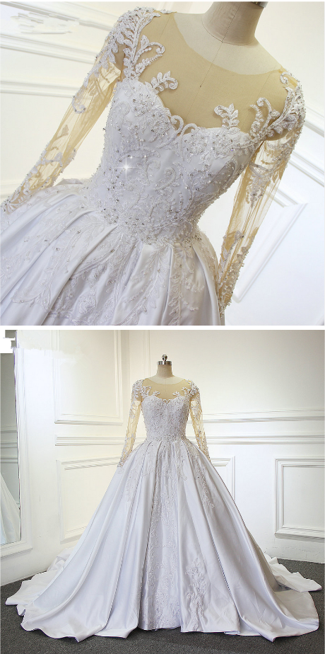 Stunning Full Hand Sew Beading Long Sleeves Satin Long Train Wedding ...