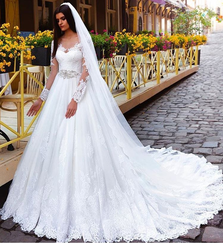 Crystal Elegant Lace Bridal Gowns Bridal Dresses Princess Long Sleeve Wedding  Dresses