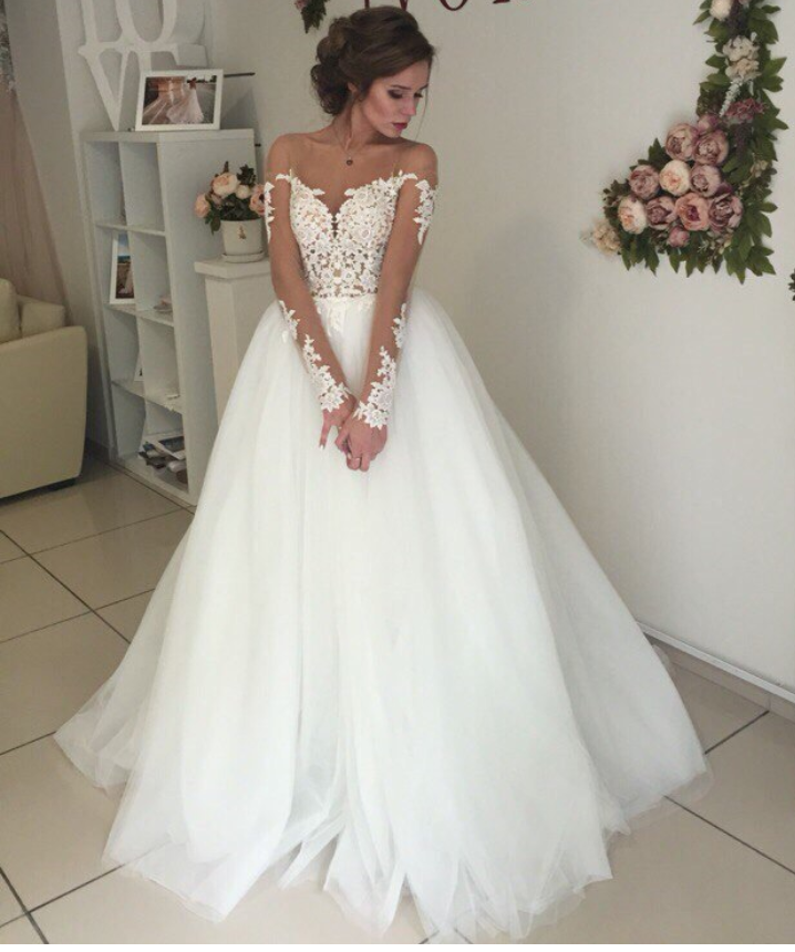 Glamorous Off-the-shoulder Lace Appliques Wedding Dress Long Sleeve ...