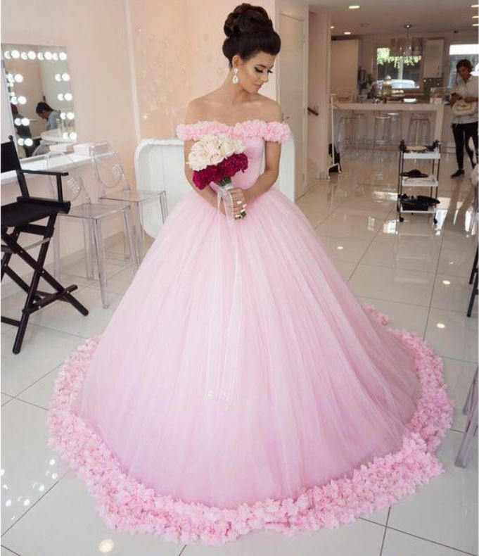 Light Pink Off the Shoulder Ball Gown Prom Dresses for Women ...