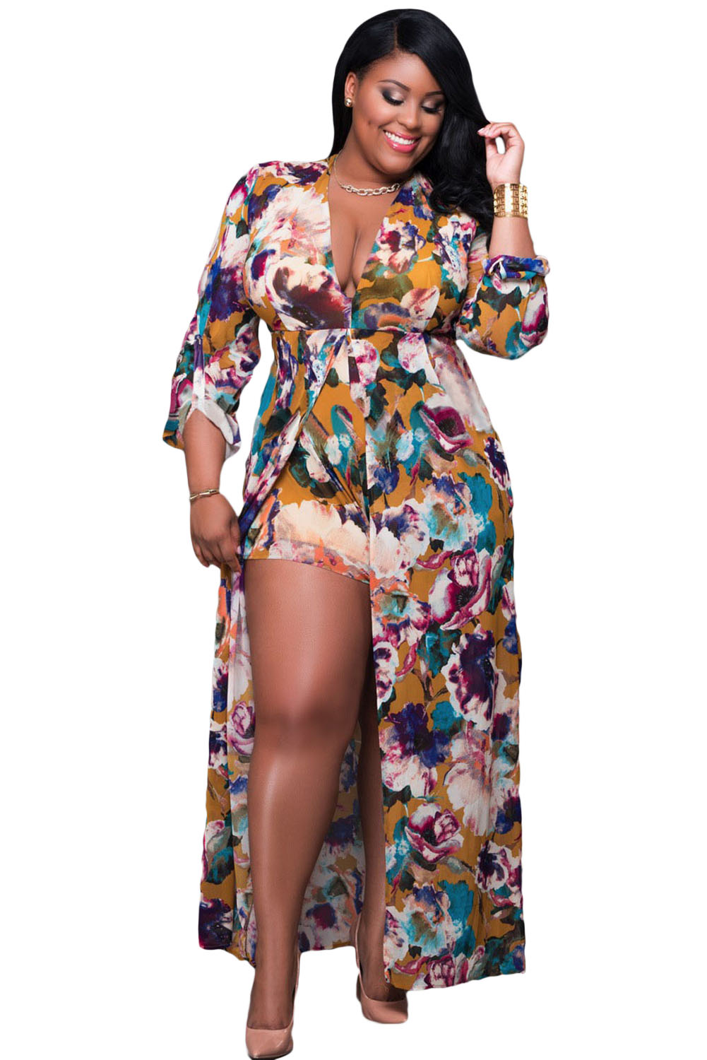 Plus Size Sleeved Floral Romper Maxi Dress Jadore Fashions