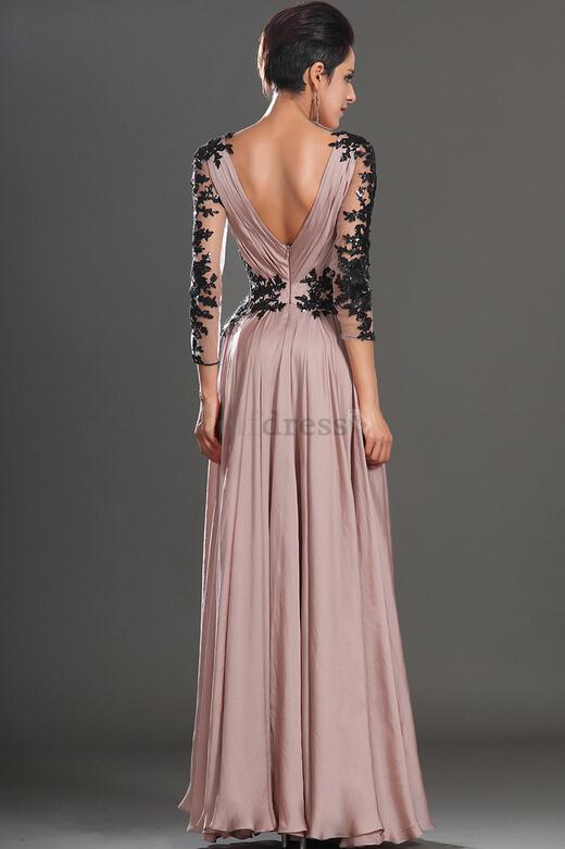 F455 V-Neck Evening Dress,Long Prom Dress, Appliques Satin Prom ...