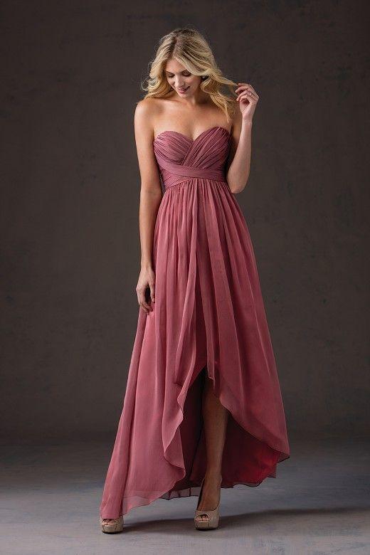 U0048, Sweetheart Chiffon Pleat Bridesmaid Dress High Low Bridesmaid ...