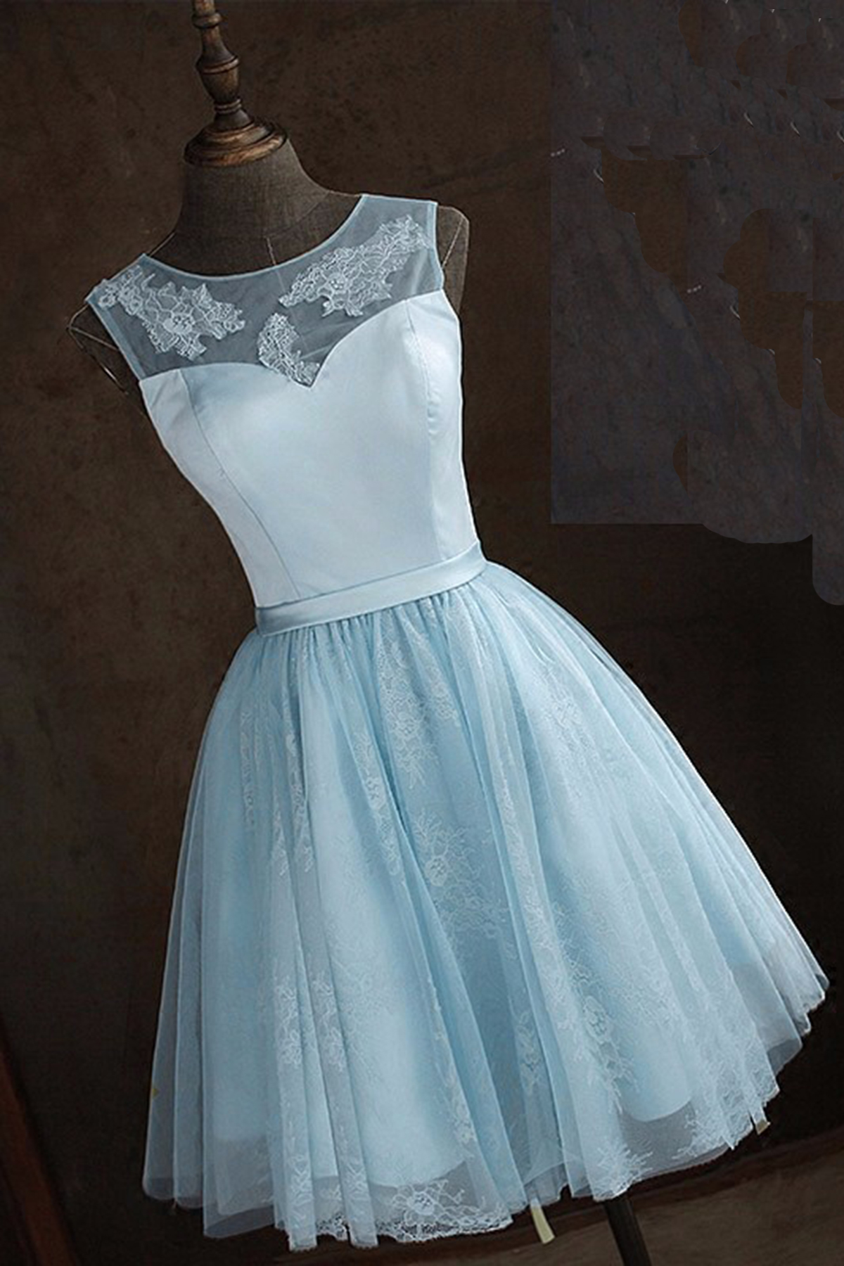 Cute light blue tulle short A-line prom dress, bridesmaid dress ...