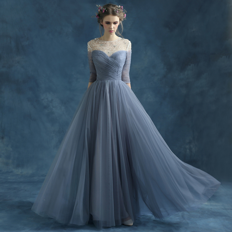 Designer Long Prom Dresses Scoop Neck Tulle Beading 34 Sleeve