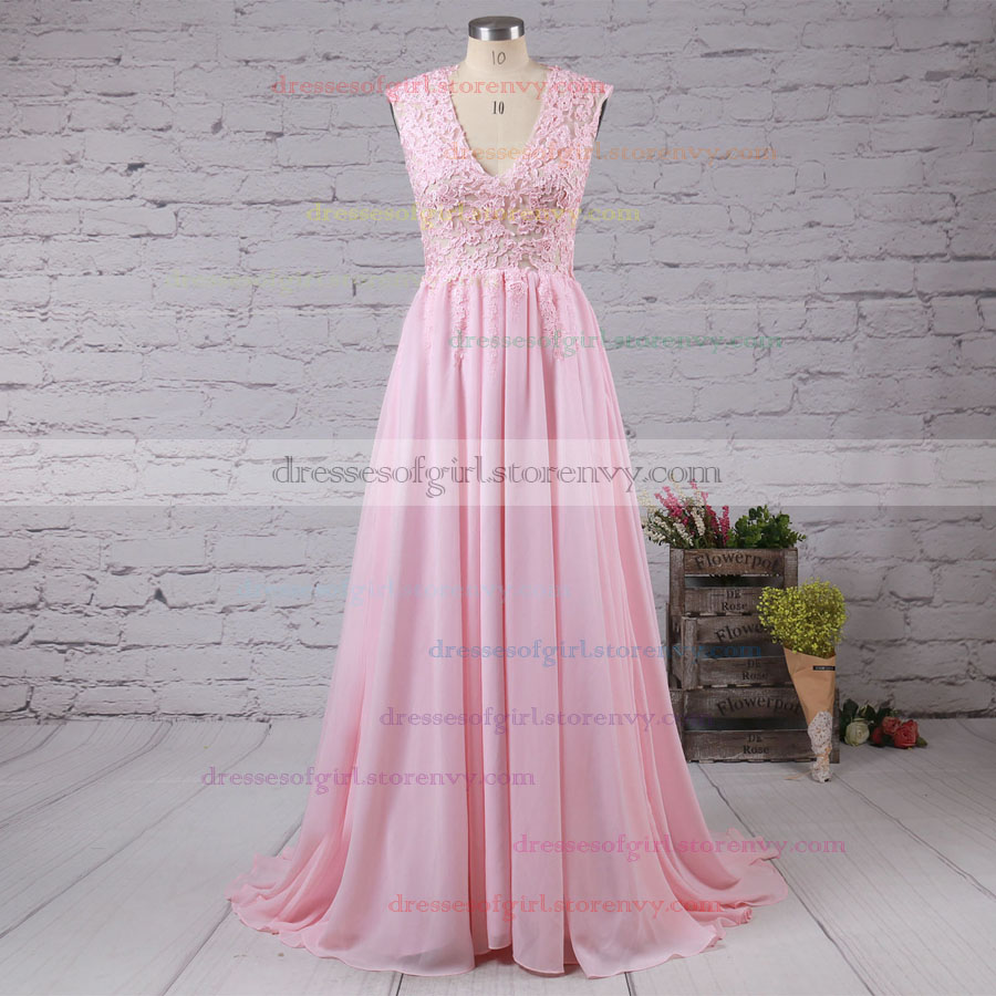 Modest V-neck Pink Prom Dresses, Chiffon Sweep Train Long Evening ...