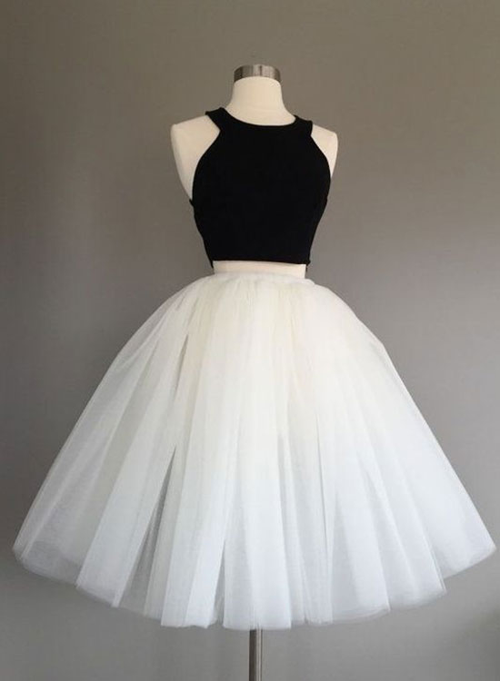 Cute A line black and white short prom dress, homecoming dress ...