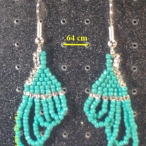 Silver and Turquoise Fringe Earrings