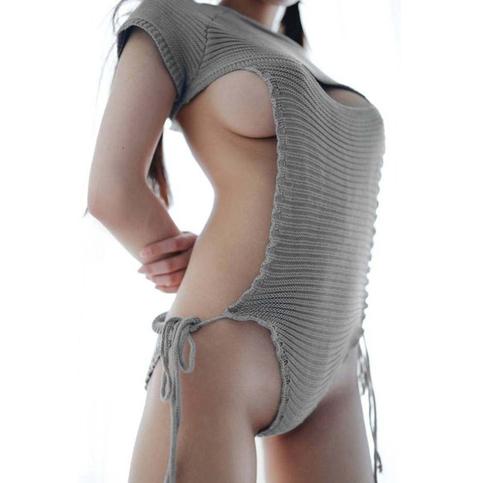 open chest virgin killer t shirt romper sweater pocket