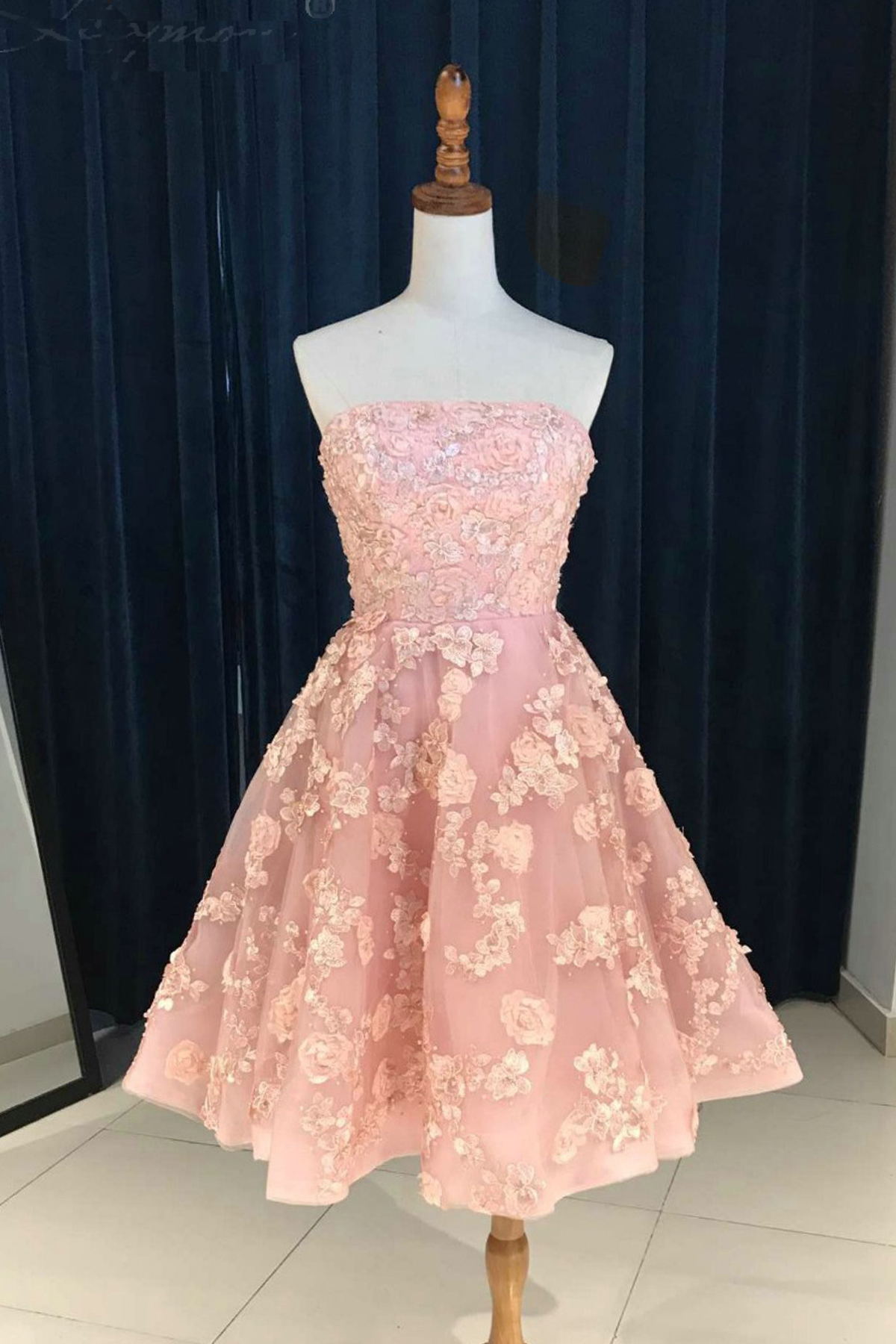Cute strapless short 3D flower lace prom dress, A-line homecoming ...