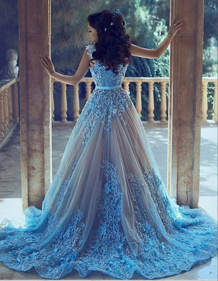 A-Line Blue Lace Formal Prom Dresses,Sleeveless Tulle Evening Dress ...