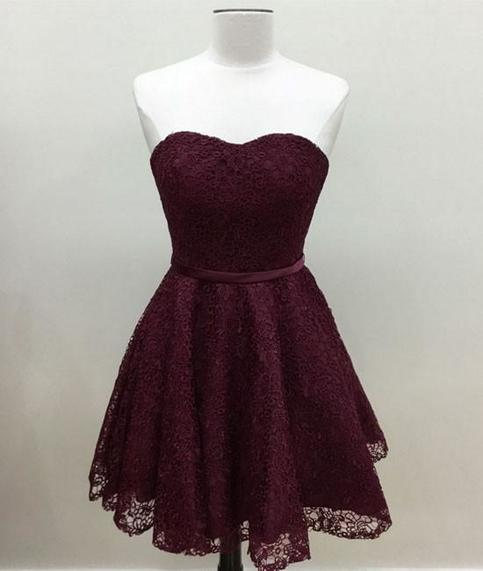 Simple Burgundy Lace Short Bridesmaid Dress Prom Dess