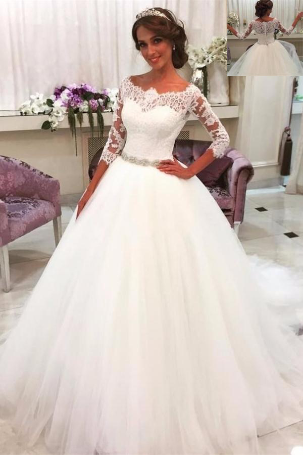 White Wedding Dresses,Wedidng Dresses With Sleeves,Lace Tulle ...