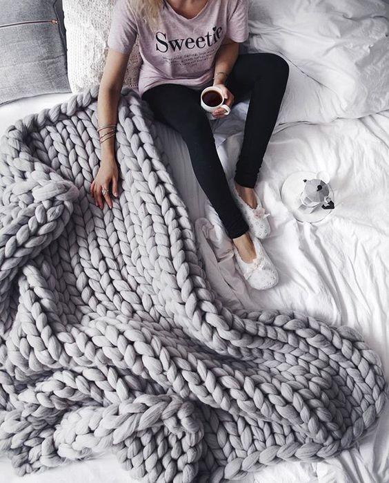 Of Girl Super Chunky Knit Blanket Knitted Blanket Chunky Blanket