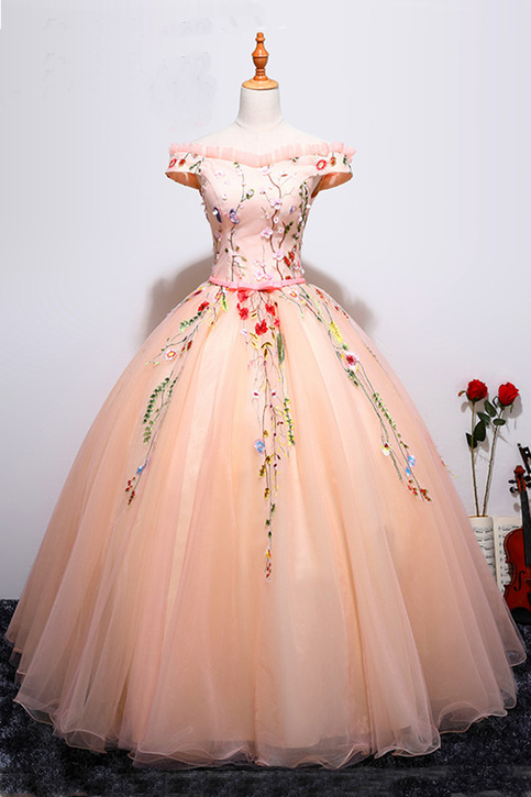 Pink Tulle Off Shoulder Lace Appliques Long Ball Gown