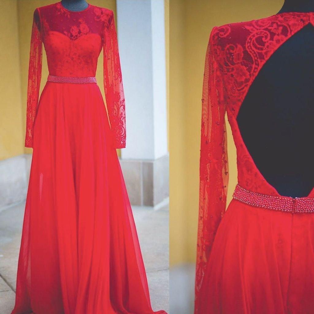 Charming Prom Dress, Full Sleeve Red Prom Dresses , Elegant Evening ...