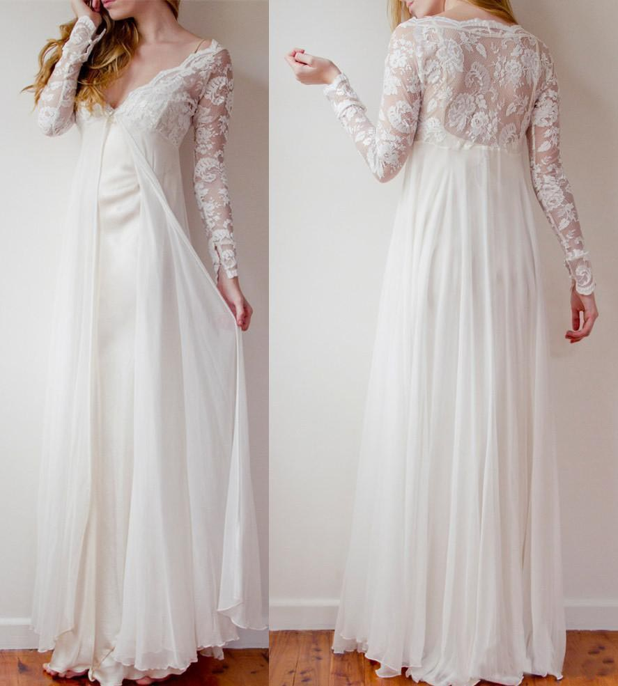 High Low Long Lace Chiffon Ivory Beach Wedding Dresses,Pregnant ...
