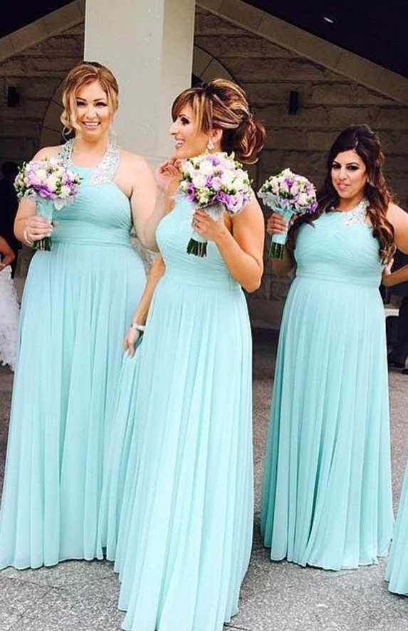 New Simple Long Bridesmaid Dresses Chiffon Halter Neck Prom Dresses ...