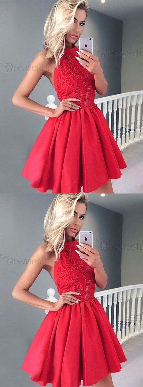 A Line Halter Backless Red Satin Short Homecoming Dress With Lace