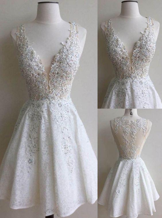Elegant White Homecoming Dresses Lace Beading V-Neck A-line Short ...
