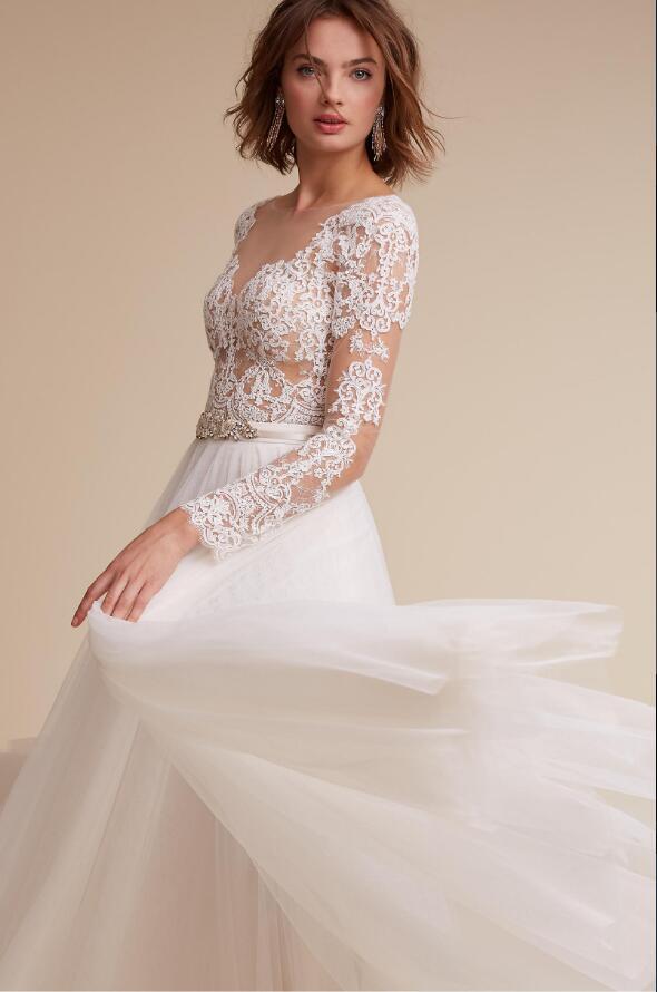 Sheer Lace Top V Neck A Line Long Chiffon Wedding Dress with Long ...