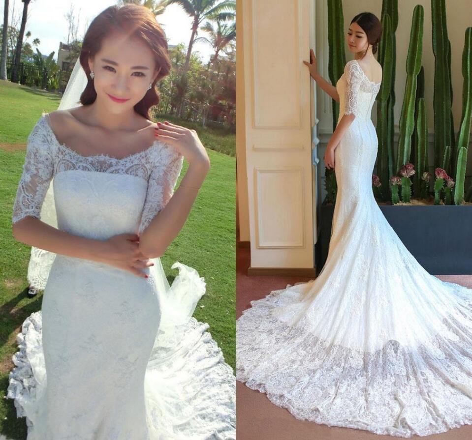 Mermaid Wedding Dress, Long Sleeve Wedding Dress, Lace Wedding Dress ...