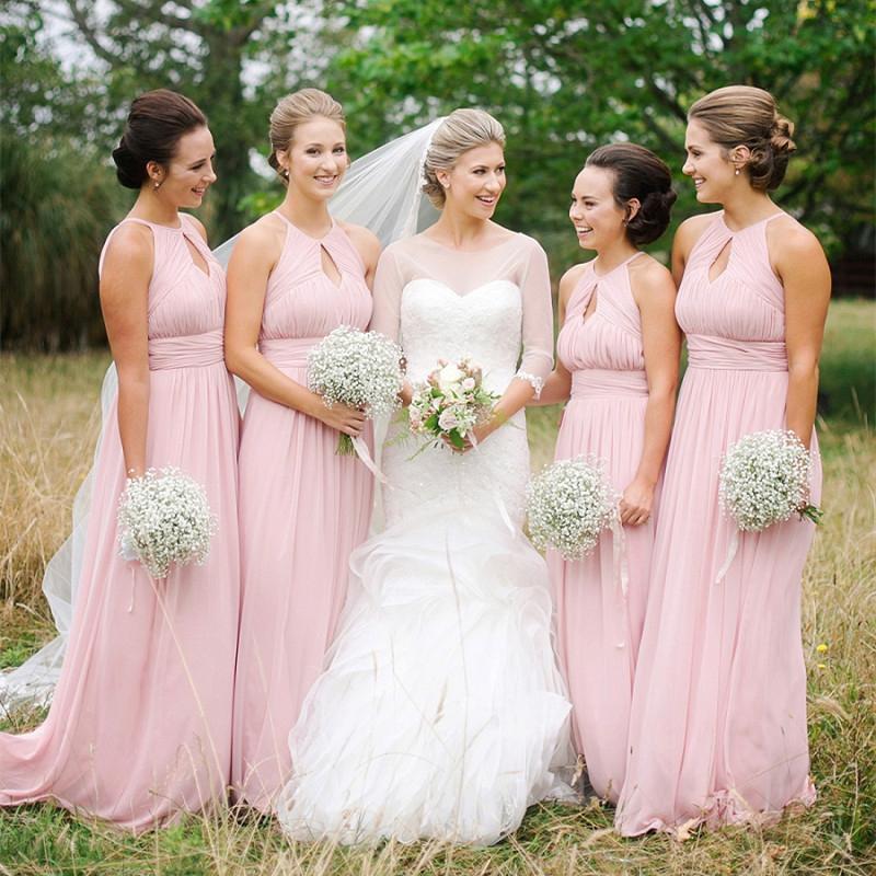 Pink Chiffon Halter Bridesmaid Dresses,Max Dresses for Bridesmaids ...