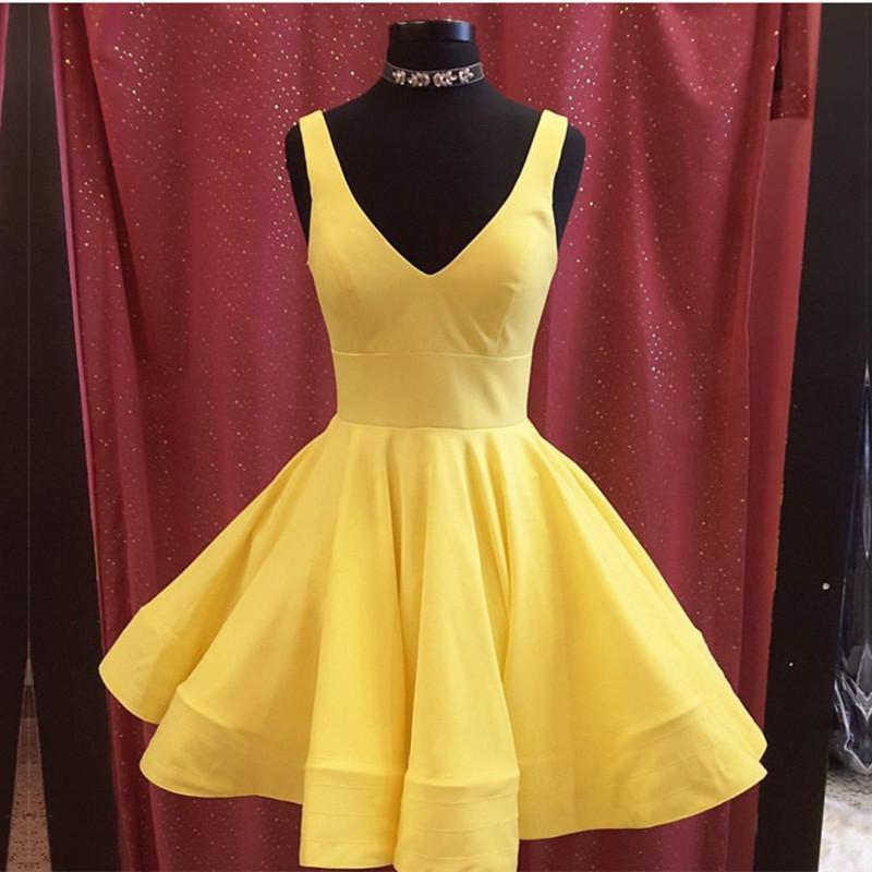 Short Satin V Neck Yellow Cheap Prom Homecoming Dresses,Short Satin ...
