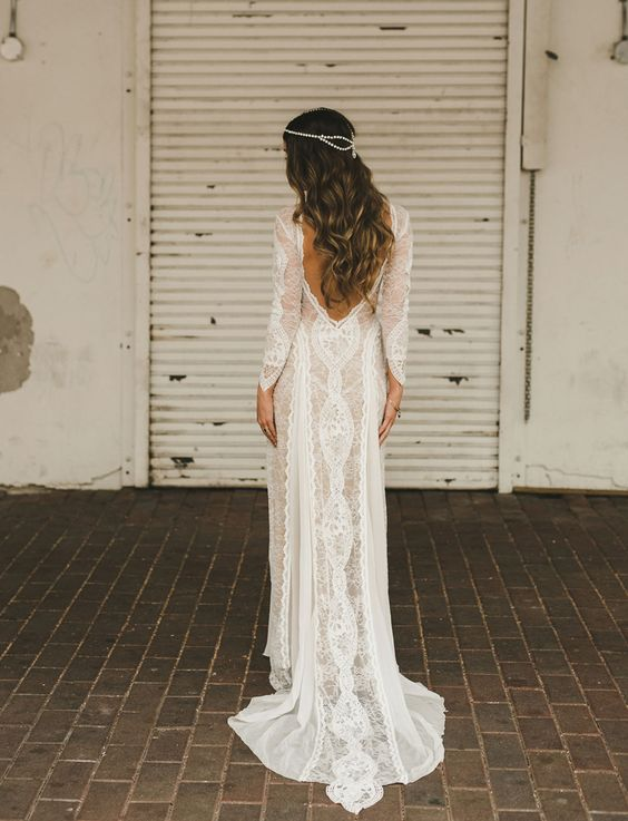 Long Sleeves Sweep Train Lace Wedding Dress With Backless Bridal