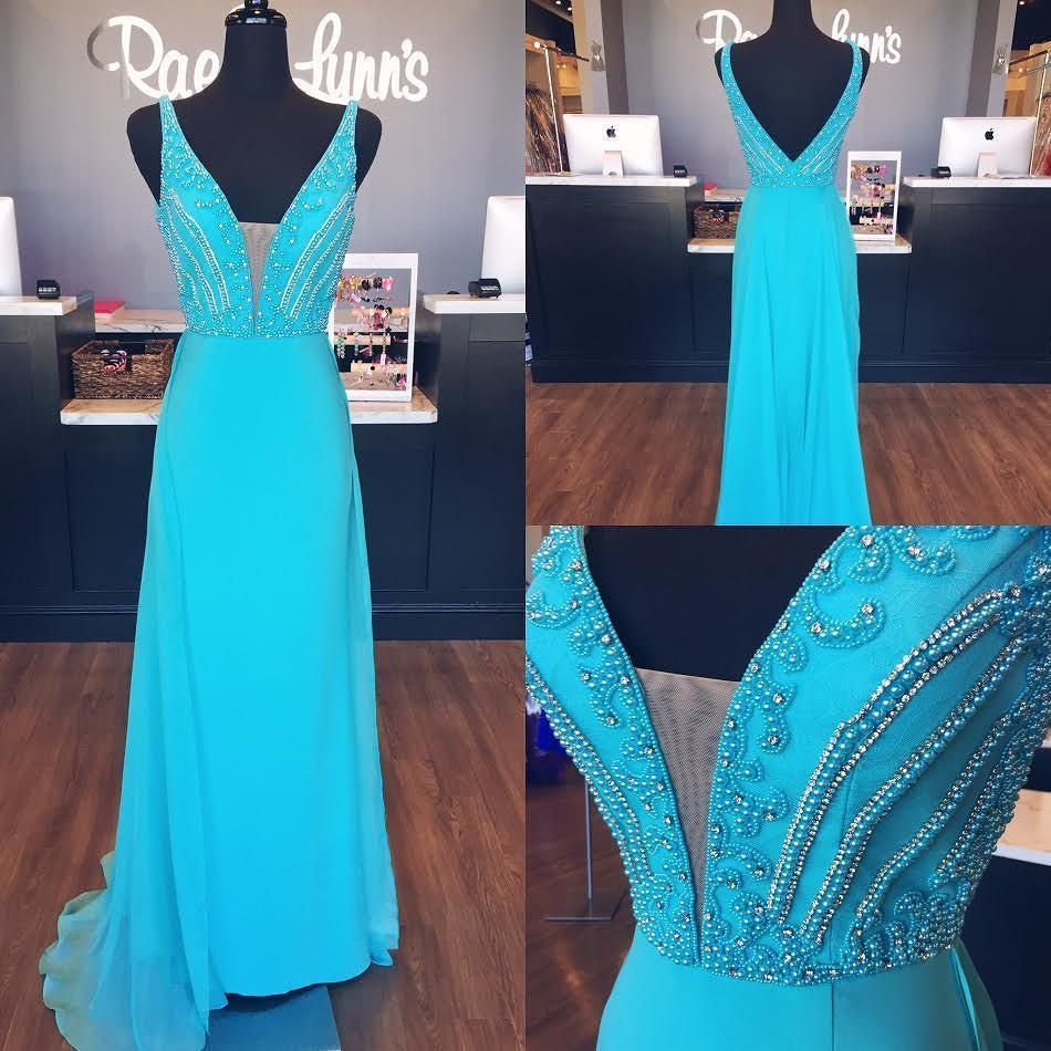 Long Chiffon Blue V-Neck Beaded Prom Dresses,Wedding Party Dresses ...