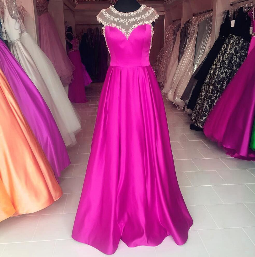 A Line Prom Dress, Crystals Prom Dress, Hot Pink Prom Dress, Cap ...