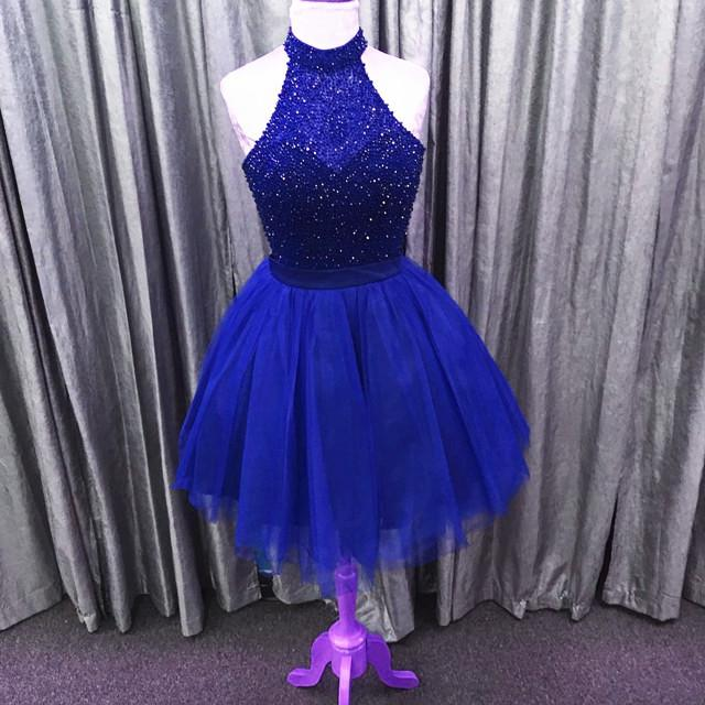 Halter Royal Blue Sparkly Dress