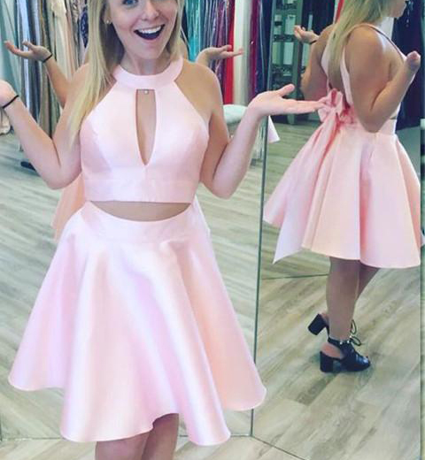 Elegant 2 Pieces Pink Cheap Homecoming Dresses,High Neck Open Back ...